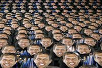 The Dallas Mavericks placed cutouts of Dirk Nowitzk'sfaceon each seat behind both baskets at the American Airlines Center in Dallas on April 5. The team passed them out to be used as a distraction to opposing players shooting free throws.(Tom Fox/Staff Photographer)