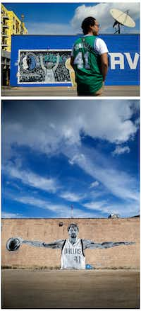 <p>Top: Chuckarin Chuskul, a participant in the filming of a tribute video to Dallas Mavericks forward Dirk Nowitzki, waits his turn in front of a mural of the All-Star in Deep Ellum in Dallas on March 24, 2019.&nbsp; Bottom: A large black and white mural of the Dallas Mavericks All-Star forward is displayed on the side of a Deep Ellum building.<br></p>(Tom Fox/Staff Photographer)