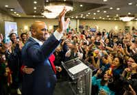 Colin Allred thanked his supporters at the Magnolia Hotel in Dallas after winning the Nov. 6 election for a U.S. House seat.(Ashley Landis/Staff Photographer)
