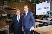 Victory Park president and owner Lothar Estein (right) and Lance Fair, chief operating officer and chief investment officer of Estein USA,  were in Dallas this week to celebrate the project's success 10 years after it faced foreclosure.(Smiley N. Pool/Staff Photographer)
