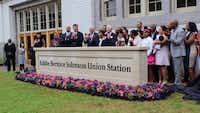 "<p><span style=""font-size: 1em; background-color: transparent;"">Officials gathered Saturday at a ceremony to rename Dallas' Union Station for U.S. Rep. Eddie Bernice Johnson.</span><br></p><p></p>(Office of U.S. Congresswoman Eddie Bernice Johnson)"