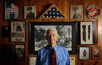 R.V. Burgin posed for a portrait at his home in Lancaster on March 8, 2010. Burgin, who served in the Marines in World War II, died April 6, 2019, at 96.(Vernon Bryant/Staff Photographer)