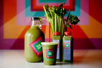 Celery juice at The GEM in Dallas is offered in cups, bottles and large growlers.(Rose Baca/Staff Photographer)