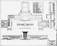 Architectural plan and elevation views of what we now call the Hall of State, labeled here as the State of Texas Building, dated 1935. The building was erected for the Texas Centennial Exposition in 1936. In the floorplan view, the Hall of 1936 is at far right, the Hall of 1836 is at far left, and the Great Hall of Texas is at top.(State of Texas)