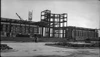 The State of Texas building, now known as the Hall of State building, under construction for the Texas Centennial Exposition at Fair Park. The photographer is J. Elmore Hudson, who was a draftsman for the U.S. Department of Agriculture and helped build/survey the Fair Park between 1935-1937 for the Centennial celebration.(J. Elmore Hudson)