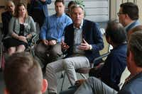 Former Starbucks CEO Howard Schultz discusses the possibility that he'll run for president as an independent candidate during a town hall meeting on the University of Kansas campus in Lawrence, Kan. Schultz believes he would take much of his support from disaffected Republicans. (John Hanna/AP)