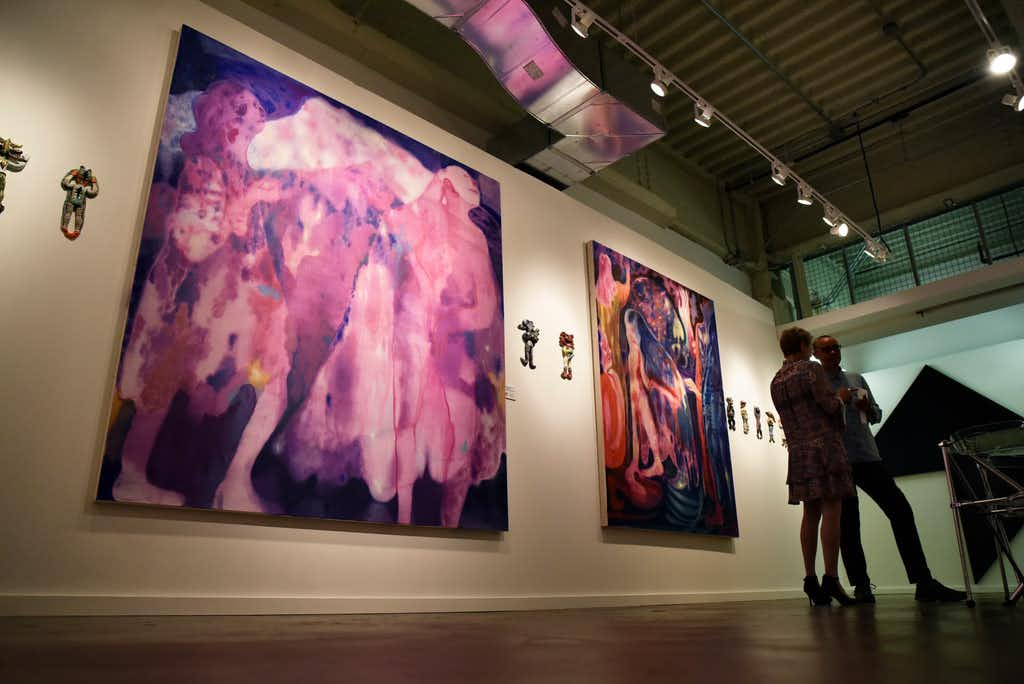 <i>Azmira's Daughters</i>, 2018, left, by Maja Ruznic, one of the selected pieces of artwork for the fourth annual Dallas Art Fair Foundation Acquisition Program.(Ben Torres/Special Contributor)