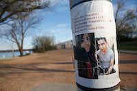 A missing persons flyer for Weltzin Garcia Mireles and Alfonso Hernandez is seen at White Rock Lake in Dallas on March 18, 2019. The pair went missing on Feb. 5.(Rose Baca/Staff Photographer)