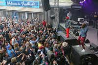 Big Boi, upper right, and Sleepy Brown perform at Rachael Ray's Feedback Party at Stubb's during the South by Southwest Music Festival on Saturday, March 16 2019, in Austin, Texas.(Jack Plunkett/Jack Plunkett/Invision/AP)