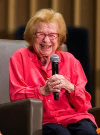 Dr. Ruth Westheimer is interviewed by WFAA's Jane McGarry at a fundraiser event for the Dallas Holocaust Museum Center.(Ashley Landis/Staff Photographer)