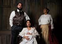 Ruben Carrazana (left), Alejandra Flores (center) and Dolores Godinez star in Kitchen Dog Theater's <i>Wolf at the Door</i>, part of a wave of plays in Dallas depicting women in distressful and violent situations who become the heroines of their own stories.(Ashley Landis/Staff Photographer)