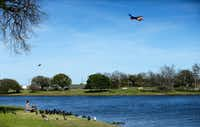 A Southwest Airlines jet takes off from Love Field as Roxie Murillo (left) of Dallas and Julian Ruiz feed the American Coots, Mallard ducks and pigeons along the Bachman Lake shoreline in Dallas on March 19, 2018. (Tom Fox/Staff Photographer)