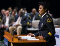 Police Chief Renee Hall spoke Friday to Dallas Police Department academy graduates at Mountain View Community College.(Ashley Landis/Staff Photographer)