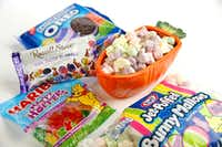 Easter candy including, Jet-Puffed Bunny Mallows marshmallows, Haribo Happy Hoppers gummy candy, Russell Stover Iddy Biddy Bunnies chocolates and Easter Egg Oreo cookies (Tom Fox/Staff Photographer)