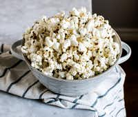This homemade popcorn is topped with Everything But the Bagel Sesame Seasoning Blend from Trader Joe's.(Rebecca White/Special Contributor)