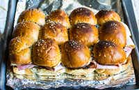 These sliders are topped with Everything But the Bagel Sesame Seasoning Blend from Trader Joe's.(Rebecca White/Special Contributor)