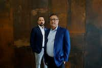 Carlos Gonzalez-Jaime and Jorge Baldor  at their museum, the Latino Arts Project in Dallas on April 11, 2019. The museum focuses on Latino art.(Lawrence Jenkins/Special Contributor)