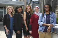 From left: Anna Clark, Yulise Waters, Michelle Kinder, Alia Salem and Joli Robinson are the peer coaches for the 2019 Public Voices project in Dallas.(Ryan Michalesko/Staff Photographer)