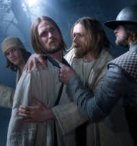 The kiss of Judas is portrayed in the Passion Play in the German town of Oberammergau, shown here in 2010.(Brigitte Maria Mayer/Passionsspiele Oberammergau)