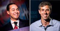 "<p><span style=""font-size: 1em; background-color: transparent;"">Texans Beto O'Rourke, right, and Julian Castro have topped seven figures in their pursuit of the White House.</span></p>(Brendan Smialowski/Ashley Landis, DMN (right))"