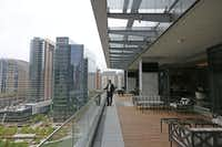A balcony area of the 1900 Pearl Tower, the newest  downtown Dallas office building, affords a spectacular view of downtown Dallas at Pearl and Woodall Rodgers.(File Photo<br>/Staff <br>)