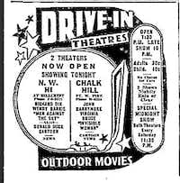Northwest Highway and Chalk Hill Drive-In Theaters' newspaper advertisement.(The Dallas Morning News)