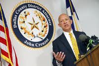 District Attorney John Creuzot held a press conference at the Frank Crowley Courthouse in Dallas, a day after he announced that Dallas County will move away from criminalizing poverty. He's outlined a reform plan to decriminalize low-level crimes and decrease the use of excessive probation and bail, Friday, April 12, 2019. (Tom Fox/Staff Photographer)