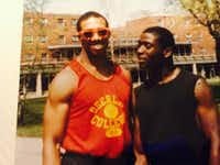 Michael Sorrell with his Kappa Alpha Psi fraternity brother Tony Charlton at Oberlin College in 1986.(Courtesy of Michael Sorrell)