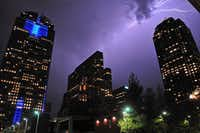 Lighting illuminates part of the downtown Dallas skyline over the Arts District in Dallas on Sept. 29, 2011. (File Photo/NewsEagles.com)