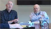 """<p>These top two officials of the Denton Central Appraisal District blame<i> The Dallas Morning News'&nbsp;</i>Watchdog, Dave Lieber, for trying to """"shut down"""" the state property tax system. George Clerihew (left) is deputy chief appraiser and Rudy Durham is chief appraiser.</p>(Screen shot courtesy of Denton Record-Chronicle Facebook page)"""