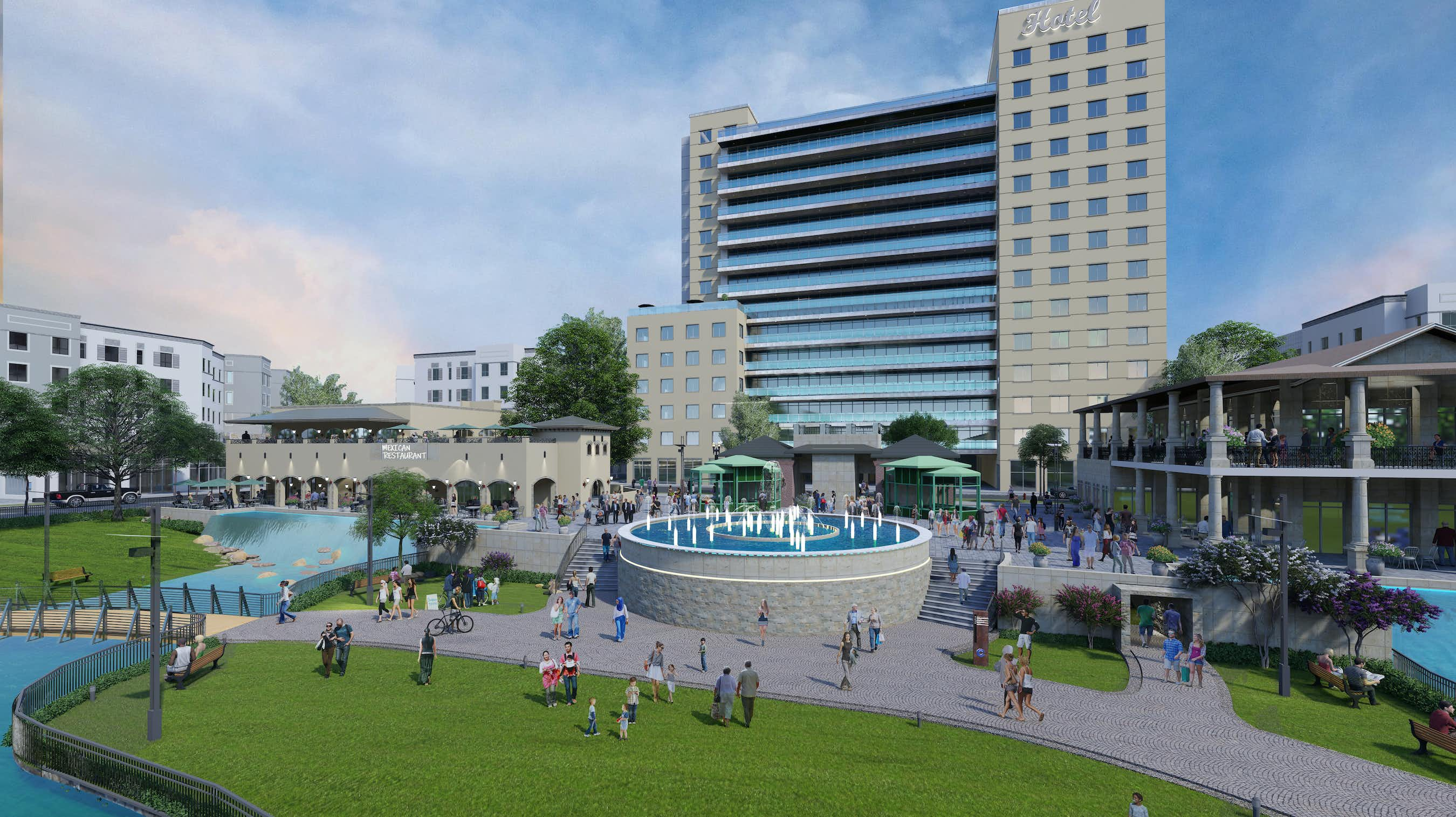 A 200-room hotel, restaurants, apartments and a water feature would be constructed in the first phase of the Collin Creek Mall project.(Centurion American Development)