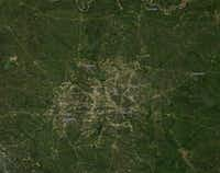 An image of Dallas-Fort Worth taken from space during the third week of April.(NASA Worldview.)