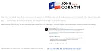 """<p><span style=""""font-size: 1em; background-color: transparent;"""">Cornyn campaign fundraising email sent April 23, 2019, seeking to drum up donations by using comedian Patton Oswalt's support for Democrat M.J. Hegar.</span></p>"""