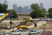 Construction continues along I-35E near Marsalis Avenue in southern Dallas, part of a massive infrastructure effort known as the Southern Gateway project.  (Vernon Bryant/Staff Photographer)