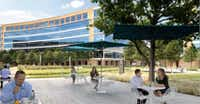 Spear Street added extensive tenant amenities including outdoor patios to the Galatyn Commons campus.(HFF)