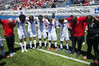 Midlothian Heritage players and coaches pray before of a UIL conference 4A boys state championship soccer game against San Elizario High School on Friday, April 19, 2019 at Birkelbach Field in Georgetown.(Ashley Landis/Staff Photographer)