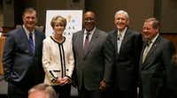 Dallas mayor Mike Rawlings stood with former Dallas mayors Laura Miller, Ron Kirk, Tom Leppert and Steve Bartlett before a panel held by the Dallas Friday Group at the Hyatt Regency in Dallas on Oct. 12, 2018. (Vernon Bryant/Staff Photographer)