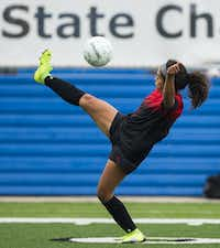 Mansfield Legacy midfielder Ashley Perez kicks during the first half of a UIL conference 5A girls state semifinal soccer game against Dripping Springs High School on Thursday, April 18, 2019 at Birkelbach Field in Georgetown.(Ashley Landis/Staff Photographer)