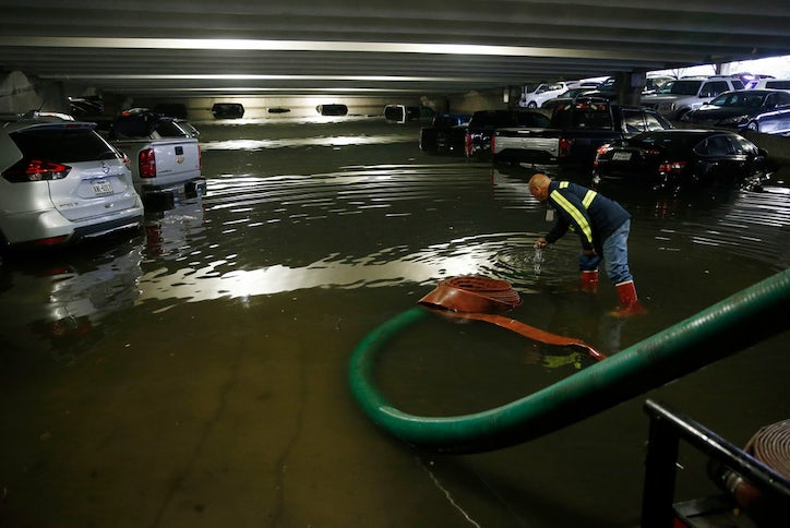 Parking Garage At Dallas Love Field Floods After Heavy Storms Sweep