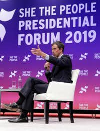 Former congressman and Democratic presidential candidate Beto O'Rourke answers questions during a presidential forum held by She The People on the Texas State University campus Wednesday, April 24, 2019, in Houston.(Michael Wyke/The Associated Press)