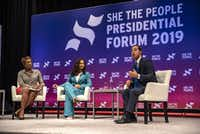 Democratic presidential candidate Julian Castro speaks to a crowd at the She The People Presidential Forum in Houston, Texas. Many of the Democrat presidential candidates are attending the forum to focus on issues important to women of color.(Sergio Flores/Getty Images)