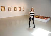 Artist Erin Stafford with her latest works, at Kirk Hopper Fine Art in Dallas.(Brian Elledge/Staff Photographer)