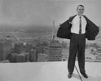 Robert Compton, better known as Bob Compton, former books editor for 'The Dallas Morning News,' in an undated photo on top of a building in downtown Dallas.(Courtesy of Rob Compton)
