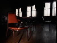 Chairs and tables in the second floor ballroom are said to be moved by the ghost of former caretaker Louis Barnhardt at the Sons of Hermann Hall.(Natalie Caudill/The Dallas Morning News)