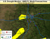 Portions of Tarrant County are abnormally dry on the U.S. Drought Monitor issued April 25, 2019.(National Drought Mitigation Center /U.S. Drought Monitor)