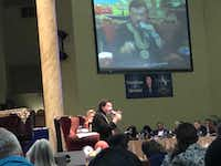 Mike Murdock preaches in front of several hundred people and four TV cameras at his Haltom City complex. He posts his sermons about money on the web and also presents them on religious TV stations across the U.S.(Dave Lieber/Staff photo)