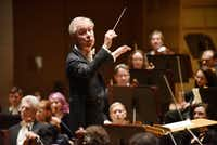 David Robertson conducts the Dallas Symphony Orchestra during a performance of Stravinsky's <i>Fireworks</i> (Feu d'artifice), Op. 4, on April 25, 2019 at the Morton H. Meyerson Symphony Center in Dallas.(Special Contributor/Ben Torres)