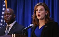 Erin Nealy Cox, U.S. attorney for the Northern District of Texas, announced the public corruption case in March.(Rose Baca/Staff Photographer)