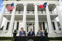From left, Texas Lt. Gov. Dan Patrick, Texas Gov. Greg Abbott and House Speaker Dennis Bonnen speak at a news conference at the Governor's Mansion, Wednesday, Jan. 9, 2019, in Austin, Texas, on the second day of the 86th legislative session.(Jay Janner/AP)