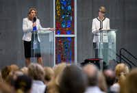 City councilwoman Jennifer Staubach Gates, left, and Laura Miller, candidates for City Council District 13, participate in a debate at Jesuit College Preparatory School of Dallas, Monday, April 22, 2019.(Brandon Wade/Special Contributor)